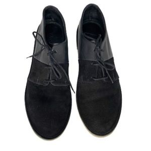 Vince suede leather lace up flat loafer black 7.5